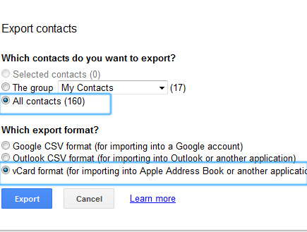 Export Contacts via Vcard