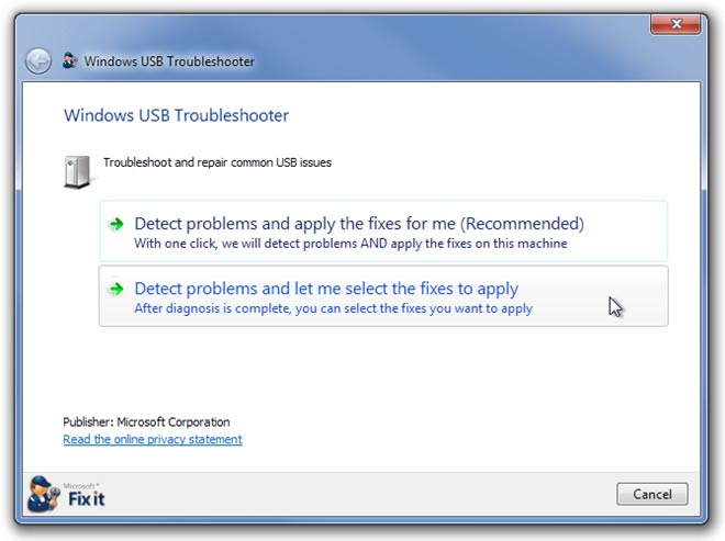 how to solve usb malfunction problem in xp